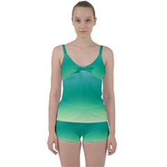 Sealife Green Gradient Tie Front Two Piece Tankini