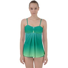 Sealife Green Gradient Babydoll Tankini Set