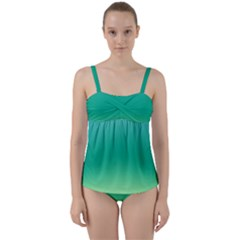 Sealife Green Gradient Twist Front Tankini Set