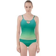Sealife Green Gradient Cut Out Top Tankini Set