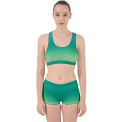 Sealife Green Gradient Work It Out Sports Bra Set