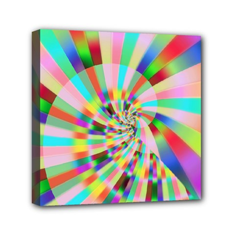 Irritation Funny Crazy Stripes Spiral Mini Canvas 6  X 6  by designworld65
