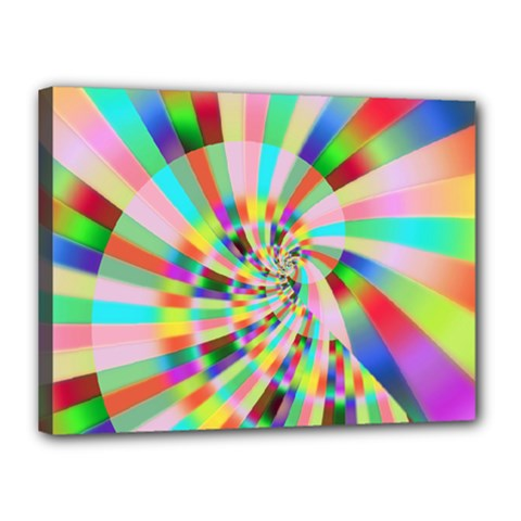 Irritation Funny Crazy Stripes Spiral Canvas 16  X 12
