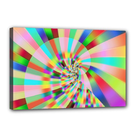 Irritation Funny Crazy Stripes Spiral Canvas 18  X 12