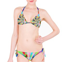 Irritation Funny Crazy Stripes Spiral Bikini Set