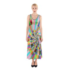 Irritation Funny Crazy Stripes Spiral Sleeveless Maxi Dress