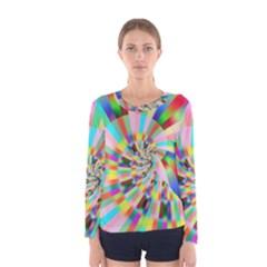 Irritation Funny Crazy Stripes Spiral Women s Long Sleeve Tee by designworld65