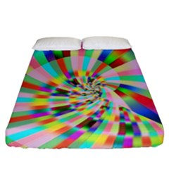 Irritation Funny Crazy Stripes Spiral Fitted Sheet (california King Size) by designworld65