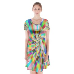Irritation Funny Crazy Stripes Spiral Short Sleeve V Neck Flare Dress