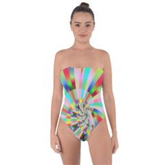 Irritation Funny Crazy Stripes Spiral Tie Back One Piece Swimsuit