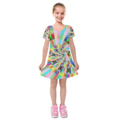 Irritation Funny Crazy Stripes Spiral Kids  Short Sleeve Velvet Dress by designworld65