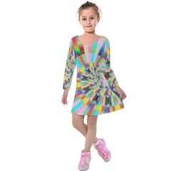 Irritation Funny Crazy Stripes Spiral Kids  Long Sleeve Velvet Dress by designworld65