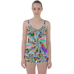 Irritation Funny Crazy Stripes Spiral Tie Front Two Piece Tankini