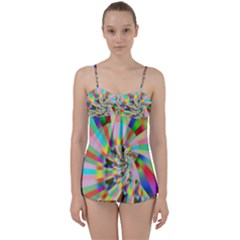 Irritation Funny Crazy Stripes Spiral Babydoll Tankini Set