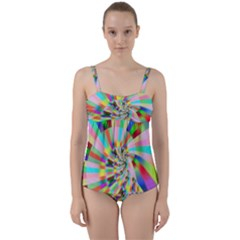 Irritation Funny Crazy Stripes Spiral Twist Front Tankini Set