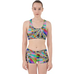 Irritation Funny Crazy Stripes Spiral Work It Out Sports Bra Set