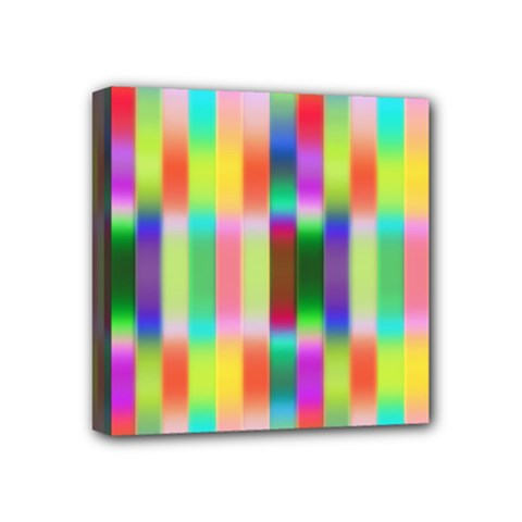 Multicolored Irritation Stripes Mini Canvas 4  X 4  by designworld65