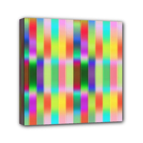Multicolored Irritation Stripes Mini Canvas 6  X 6  by designworld65