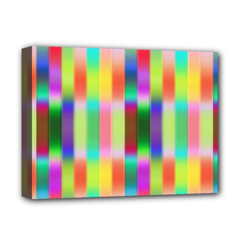 Multicolored Irritation Stripes Deluxe Canvas 16  X 12