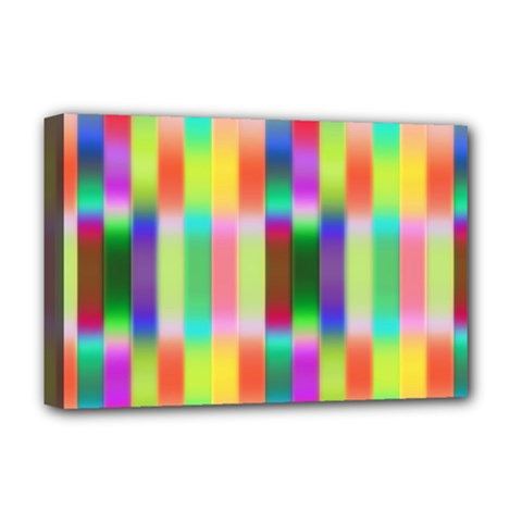Multicolored Irritation Stripes Deluxe Canvas 18  X 12