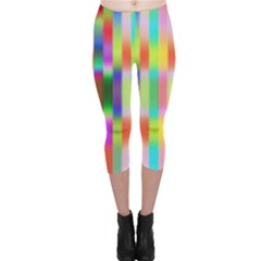 Multicolored Irritation Stripes Capri Leggings