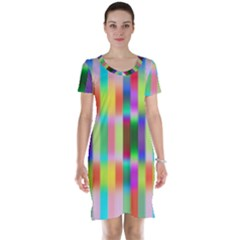 Multicolored Irritation Stripes Short Sleeve Nightdress