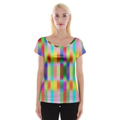 Multicolored Irritation Stripes Cap Sleeve Tops