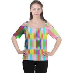 Multicolored Irritation Stripes Cutout Shoulder Tee