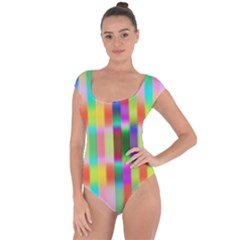 Multicolored Irritation Stripes Short Sleeve Leotard