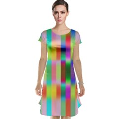 Multicolored Irritation Stripes Cap Sleeve Nightdress