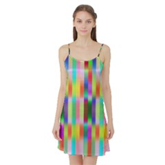 Multicolored Irritation Stripes Satin Night Slip