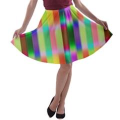 Multicolored Irritation Stripes A Line Skater Skirt