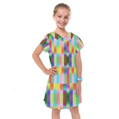 Multicolored Irritation Stripes Kids  Drop Waist Dress by designworld65