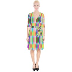 Multicolored Irritation Stripes Wrap Up Cocktail Dress