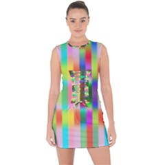 Multicolored Irritation Stripes Lace Up Front Bodycon Dress by designworld65