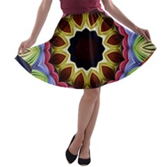 Love Energy Mandala A Line Skater Skirt