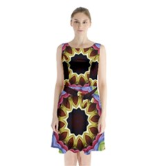 Love Energy Mandala Sleeveless Waist Tie Chiffon Dress