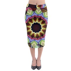 Love Energy Mandala Midi Pencil Skirt