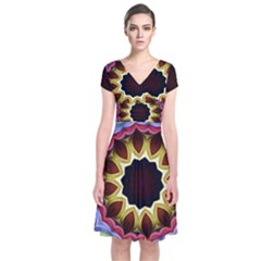Love Energy Mandala Short Sleeve Front Wrap Dress