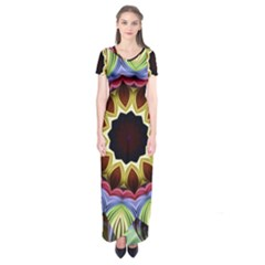 Love Energy Mandala Short Sleeve Maxi Dress
