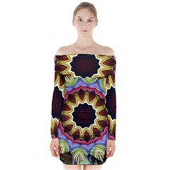 Love Energy Mandala Long Sleeve Off Shoulder Dress