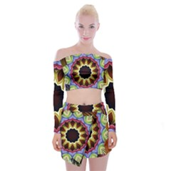 Love Energy Mandala Off Shoulder Top With Skirt Set
