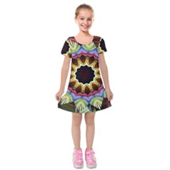 Love Energy Mandala Kids  Short Sleeve Velvet Dress