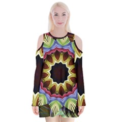 Love Energy Mandala Velvet Long Sleeve Shoulder Cutout Dress