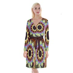 Love Energy Mandala Long Sleeve Velvet Front Wrap Dress