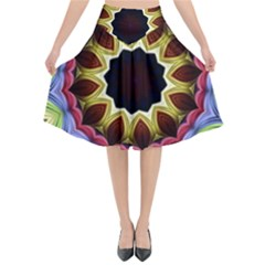 Love Energy Mandala Flared Midi Skirt by designworld65