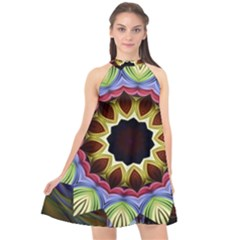 Love Energy Mandala Halter Neckline Chiffon Dress