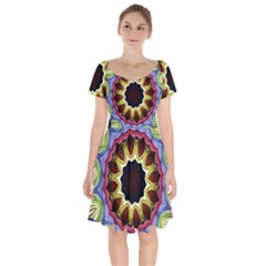 Love Energy Mandala Short Sleeve Bardot Dress