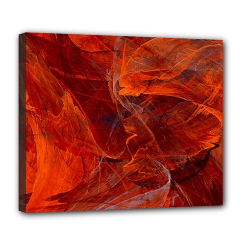 Swirly Love In Deep Red Deluxe Canvas 24  X 20