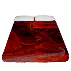 Swirly Love In Deep Red Fitted Sheet (king Size) by designworld65